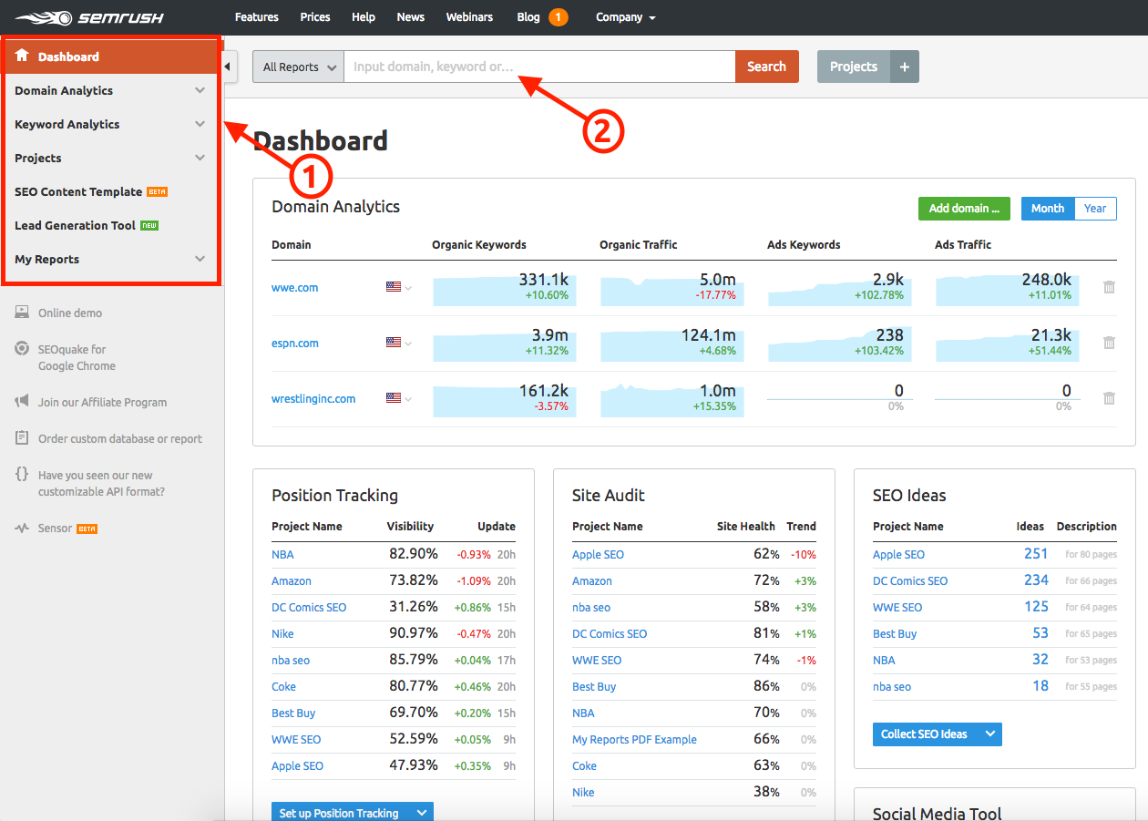 How Do I Navigate To The Different Tools In SEMrush? image 1