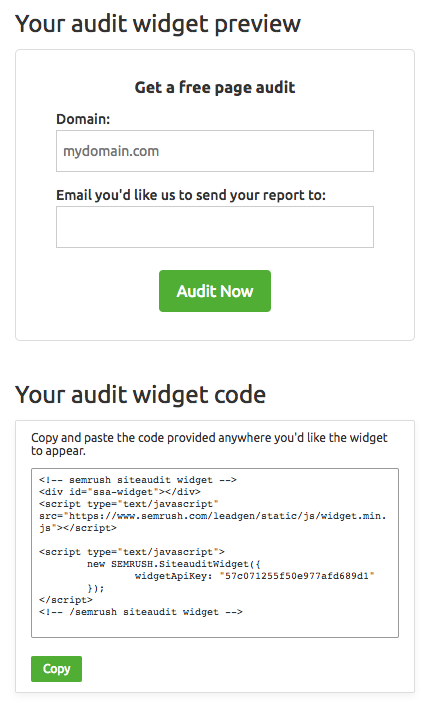 How do I put the Audit Widget on my site? image 1