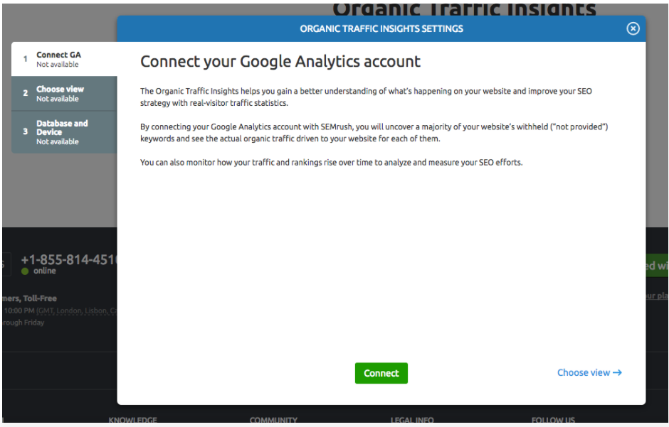 Configuring Organic Traffic Insights manual - SEMrush
