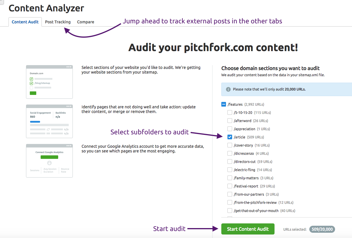 auditing website content manual reports and tools semrush