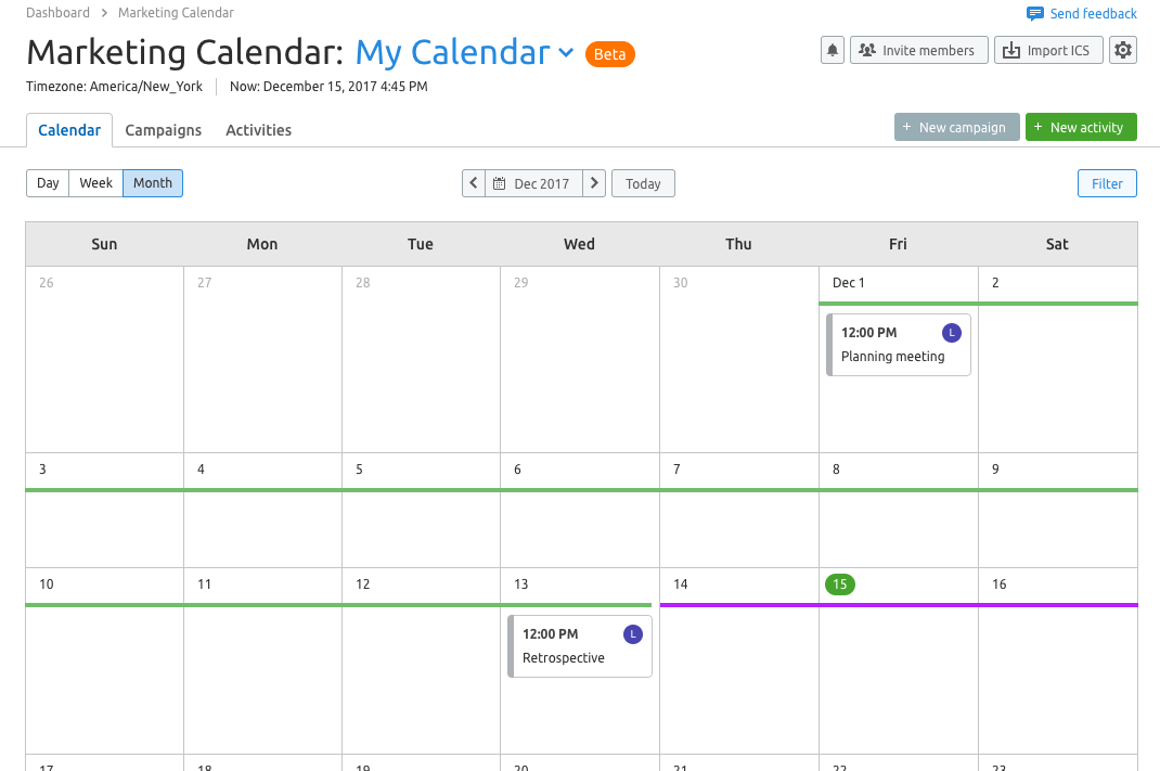 Marketing Calendar View