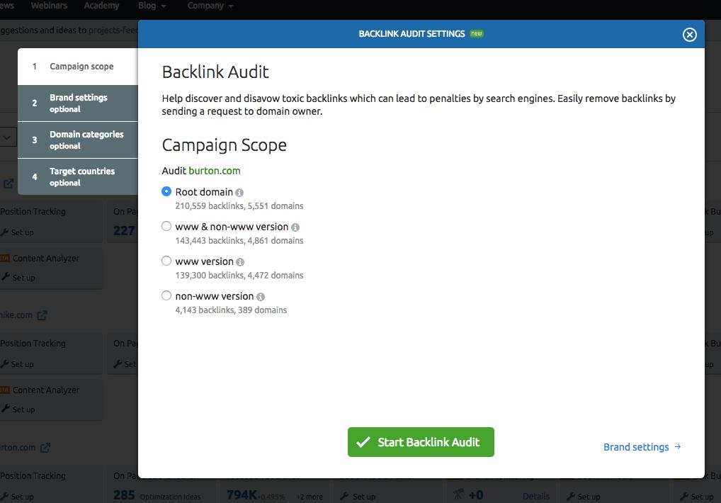 Configuring Backlink Audit Tool image 1