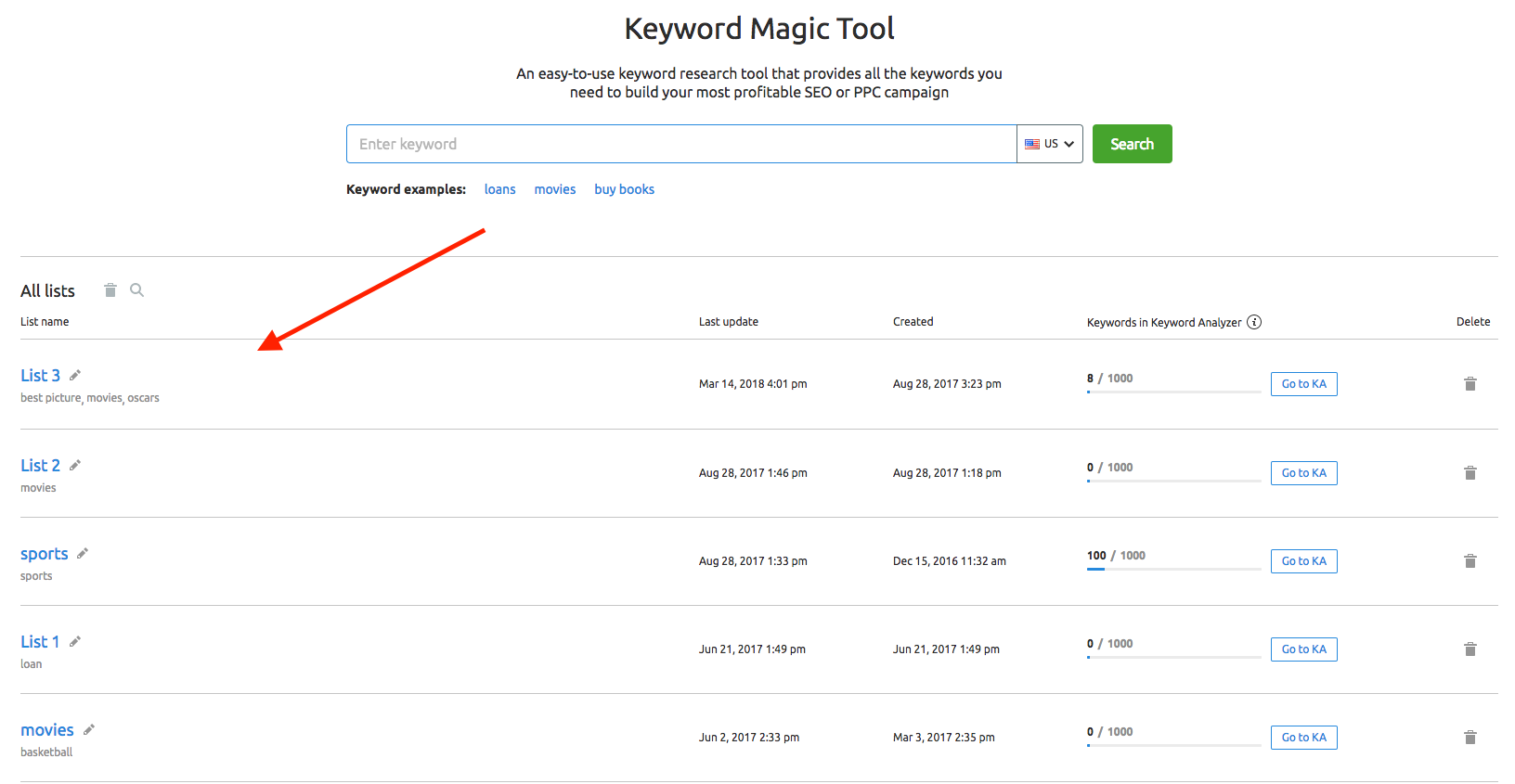 Keyword Magic Tool Manual image 13