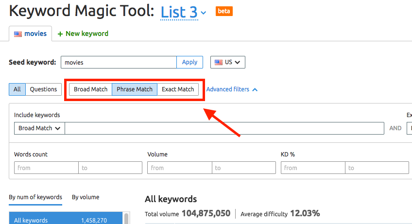 Keyword Magic Tool Manual image 2