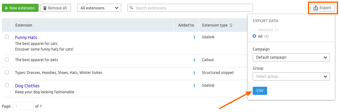 Exporting Extensions from Ad Builder