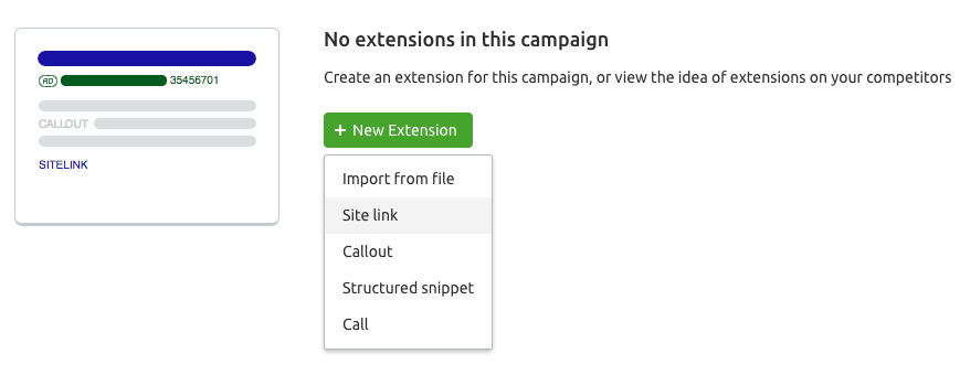 Choosing New Extension in Ad Builder