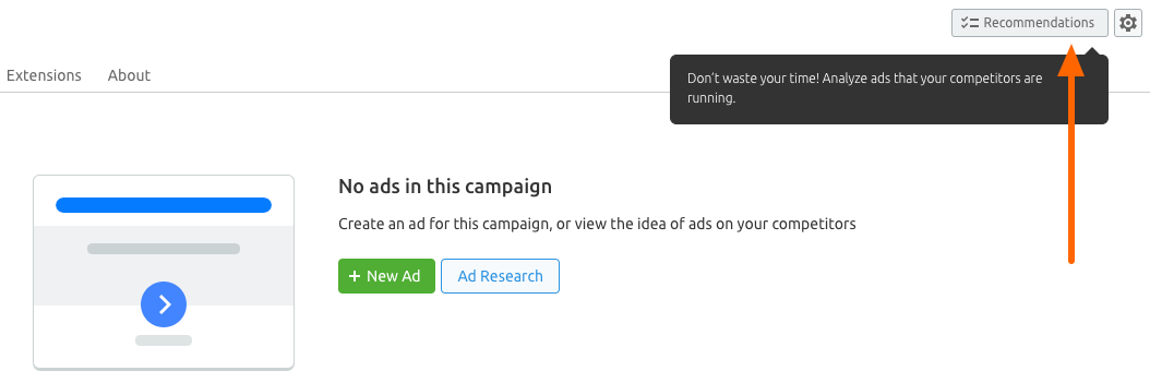Recommendations Button in Ad Builder