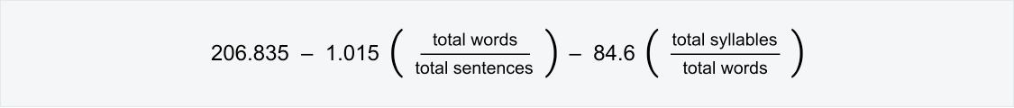 Readability score formula