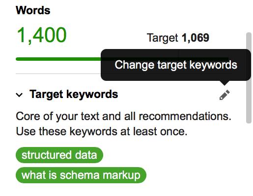 Change target keywords