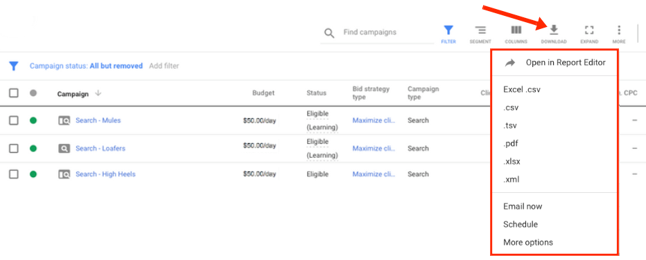 Google Ads: Export
