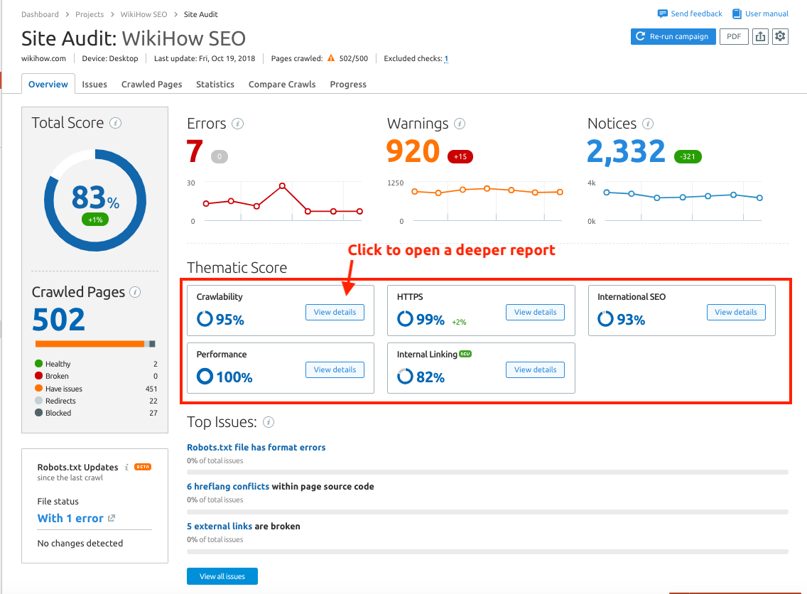 site audit overview report manual