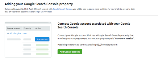 Connecting Backlink Audit to Google Accounts manual