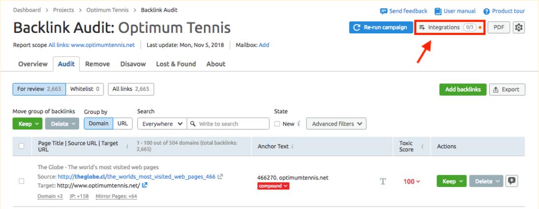 Conectando a ferramenta Backlink Audit às contas do Google image 1