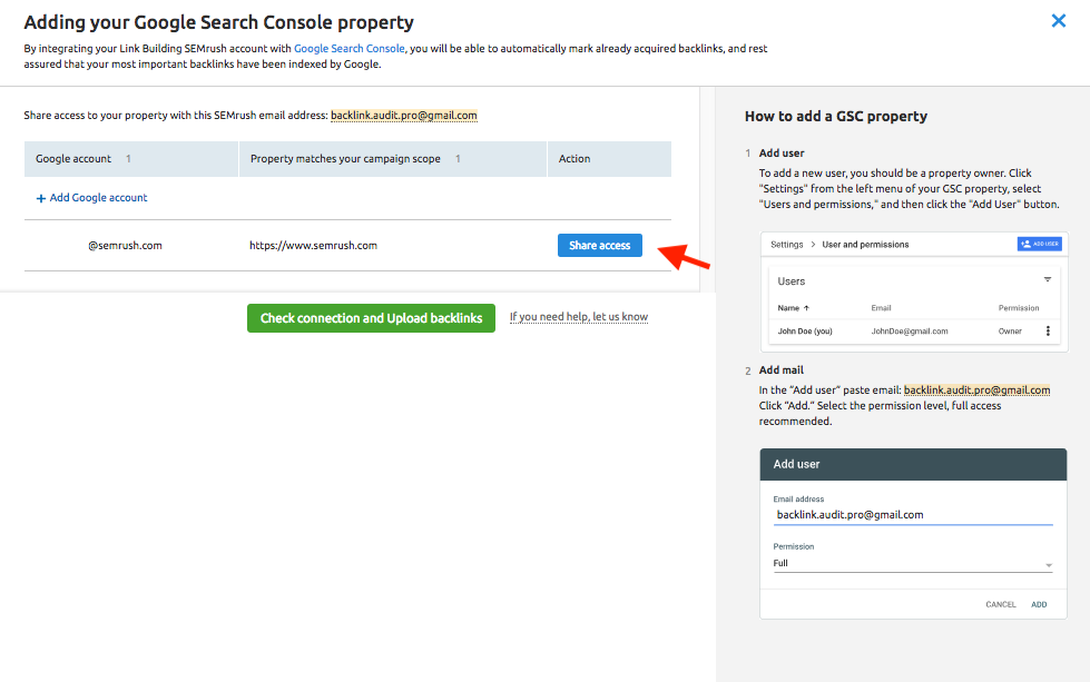 Connecting Link Building Tool with Google Search Console