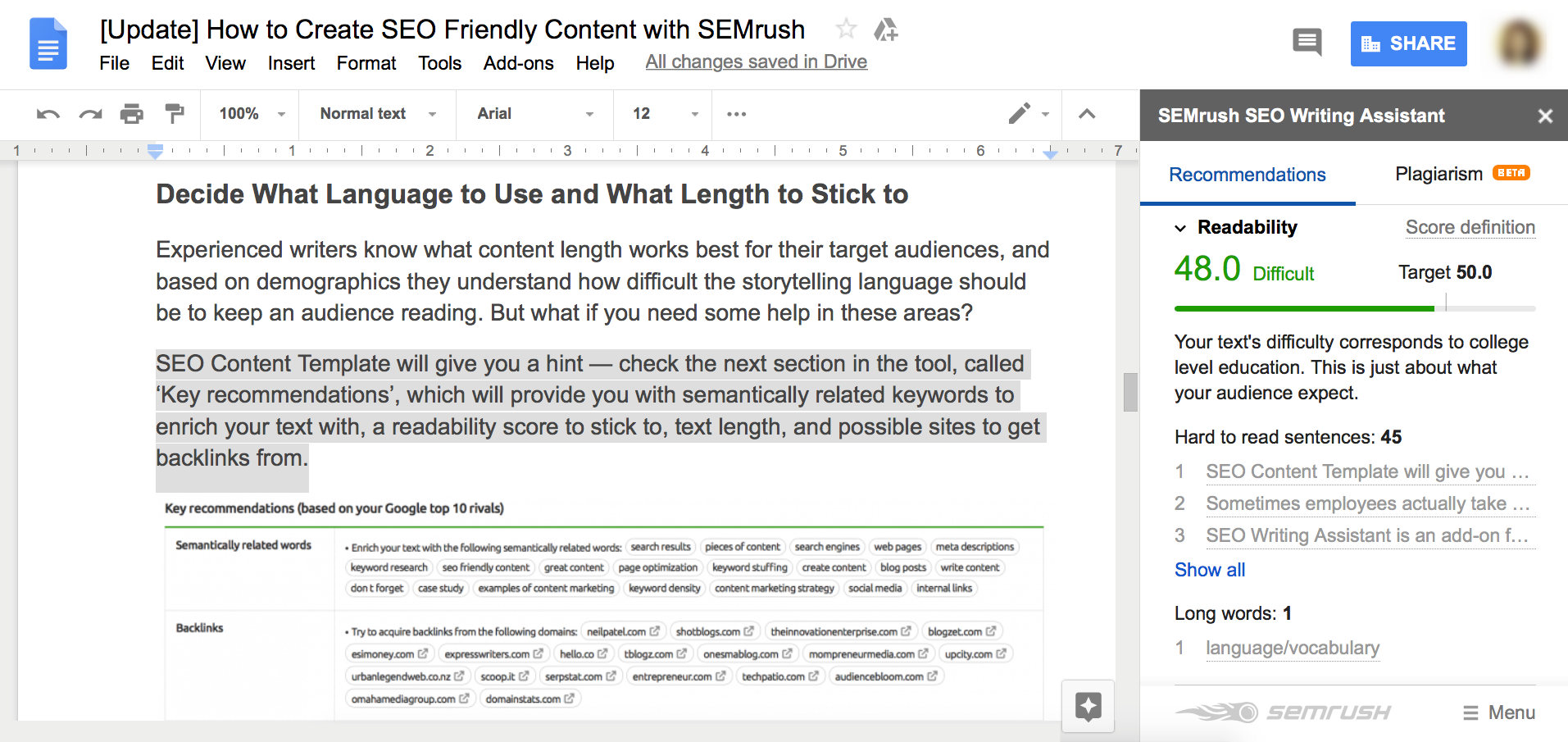 Some Known Factual Statements About Semrush Seo Writing Assistant