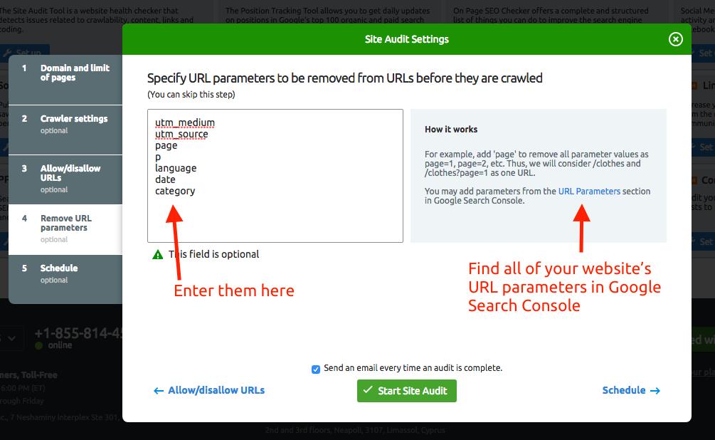 Configurer Audit de site image 6