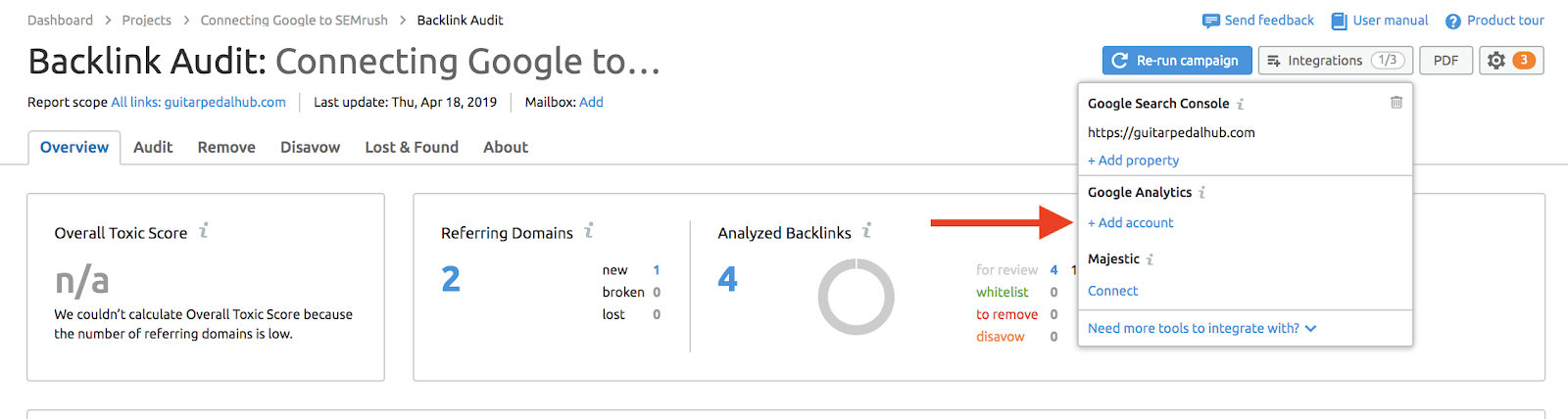 Connecting Backlink Audit to Google Accounts image 8