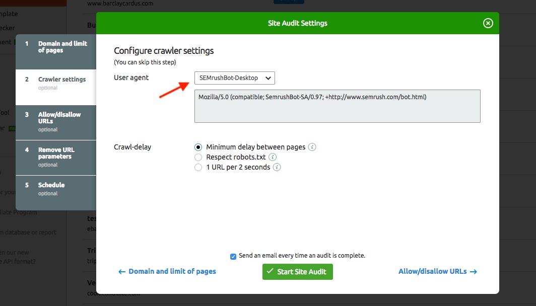 Configurar Auditoría del Sitio image 3