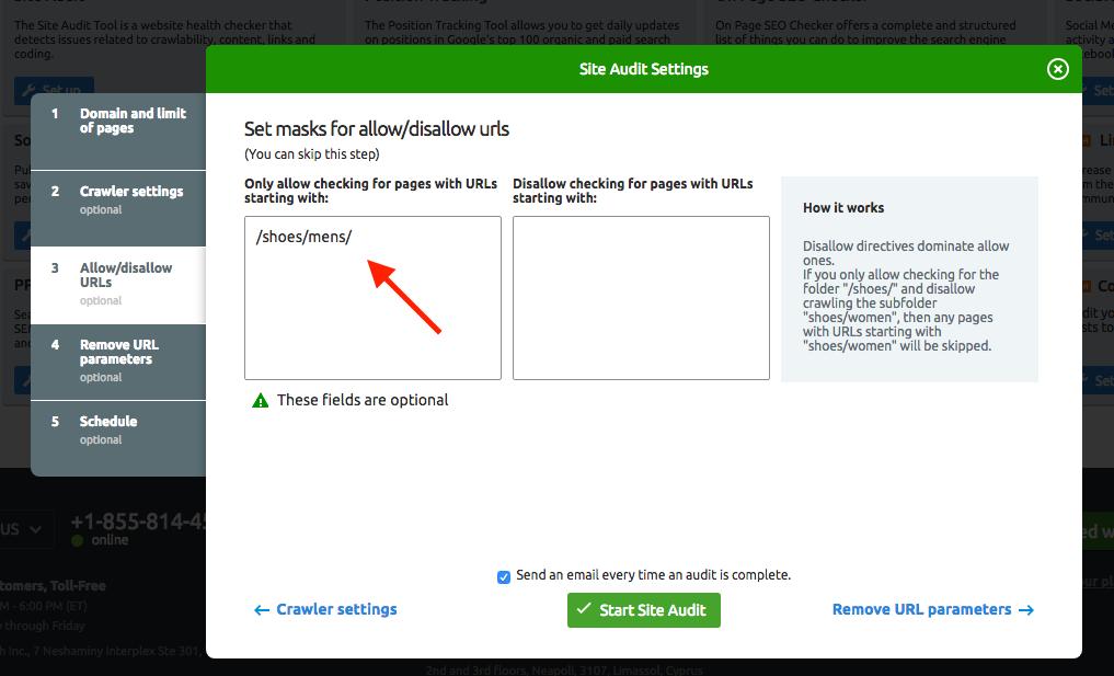 Configurar Auditoría del Sitio image 4