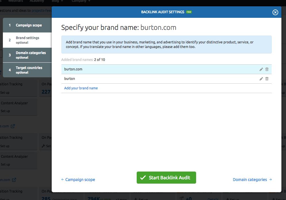 Backlink Auditツールの設定 image 2