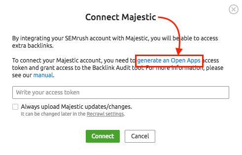 MajesticをSEMrushに接続する方法 image 2