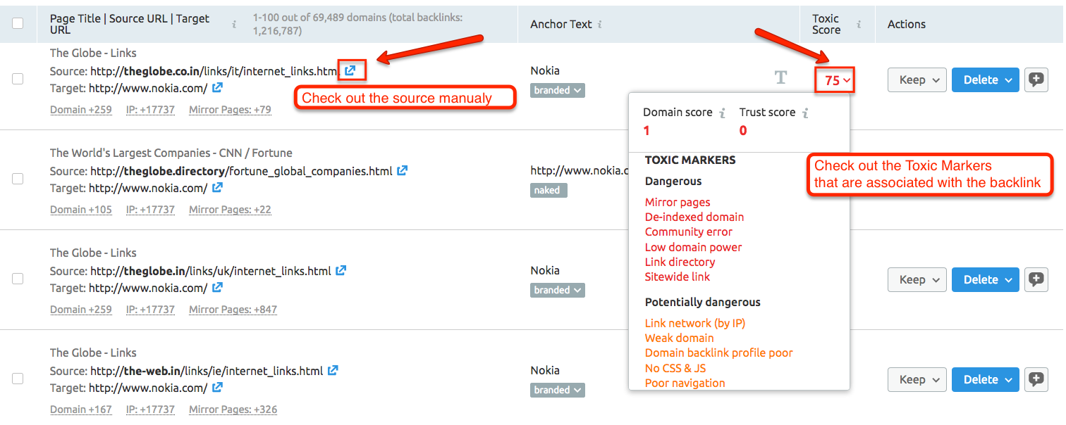 What do all of the Toxic Markers in Backlink Audit mean? image 2