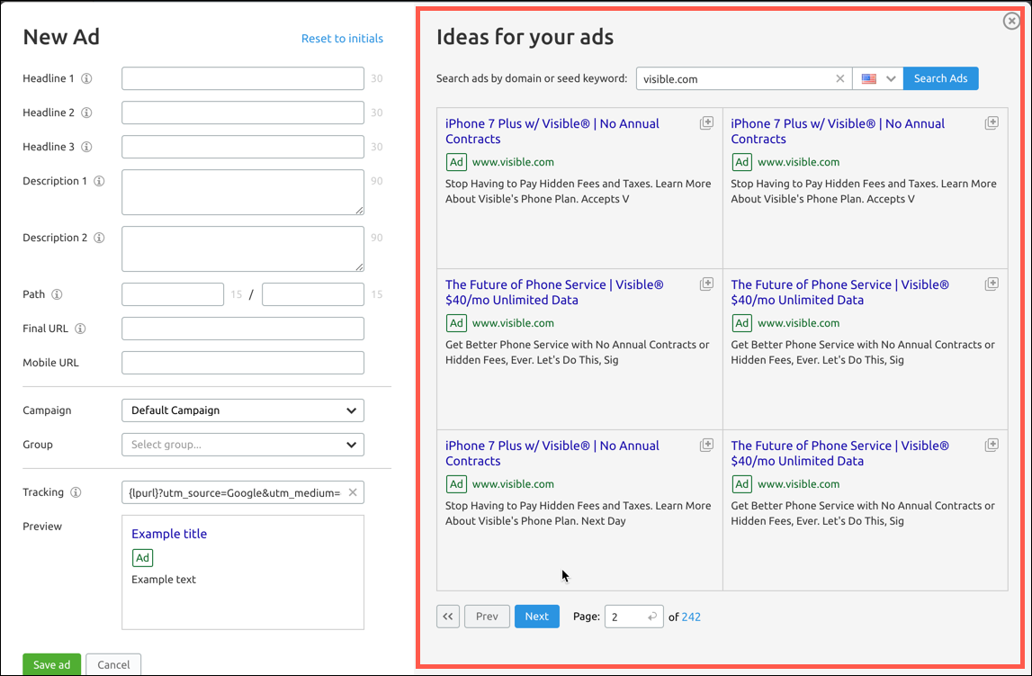 The ideas for your ads section