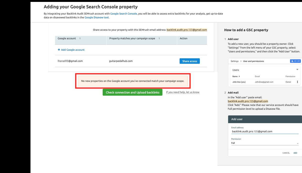 Connecting Backlink Audit to Google Accounts image 11