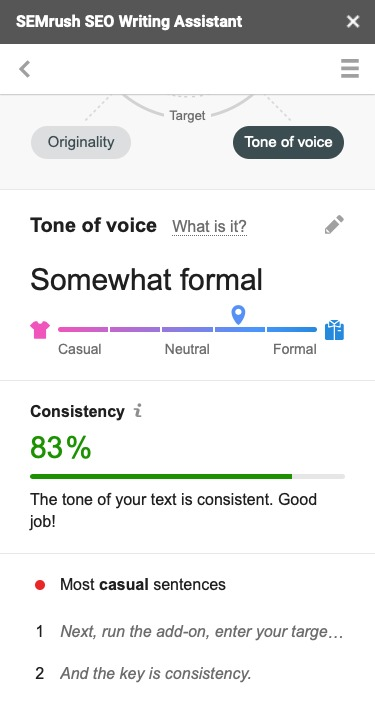 Checking Your Tone of Voice with the SEO Writing Assistant image 1