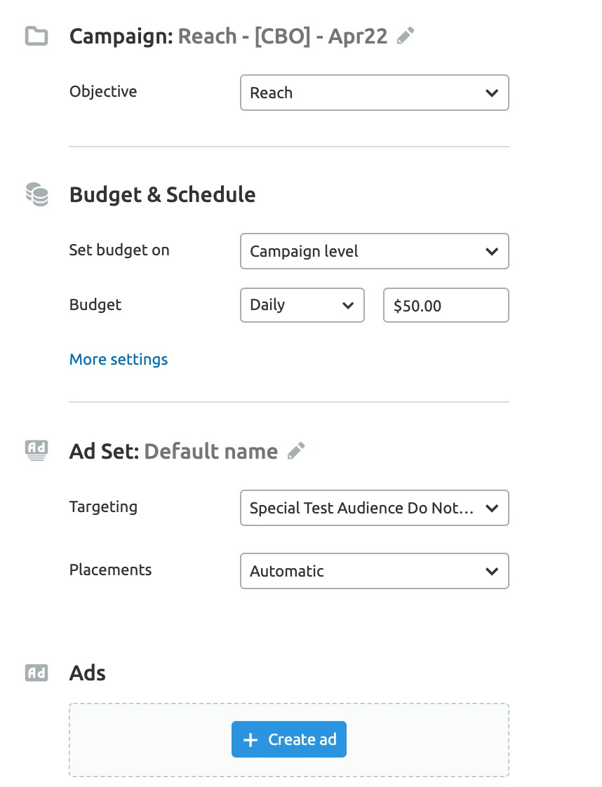 Semrush Social Media Ads settings