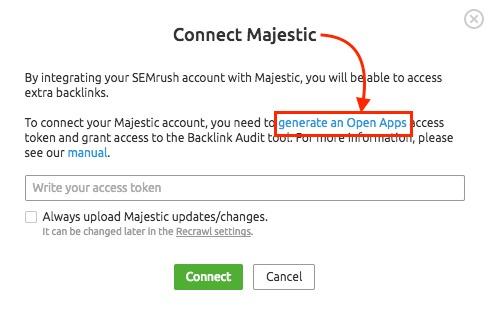 Cómo conectar Majestic a Semrush image 2