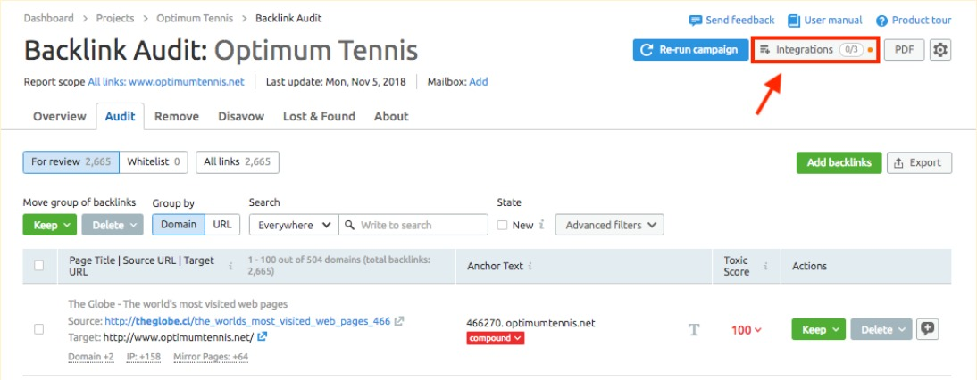 Cómo conectar Backlink Audit con las cuentas de Google image 1