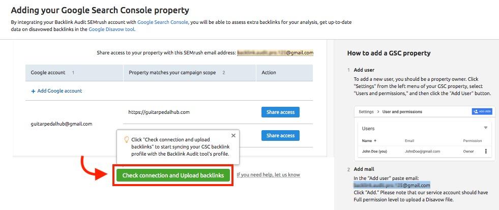 Cómo conectar Backlink Audit con las cuentas de Google image 3