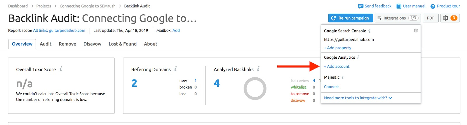 Cómo conectar Backlink Audit con las cuentas de Google image 8