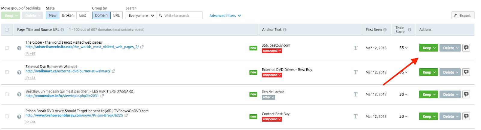 Monitorear los dominios referidos Perdidos y Encontrados image 4