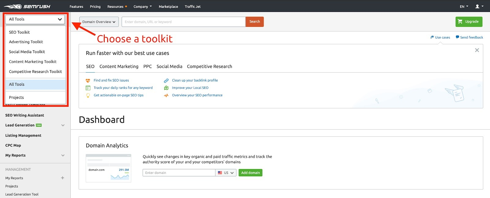 toolkits in semrush