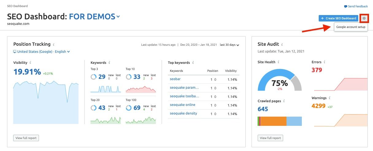 SEO Dashboard Integrations image 1