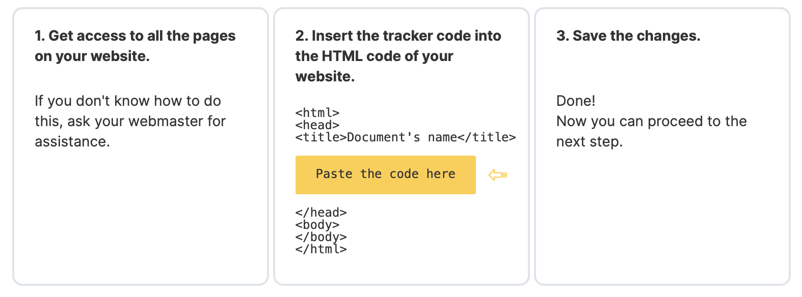 How to manually add the tracking code to your website's HTML