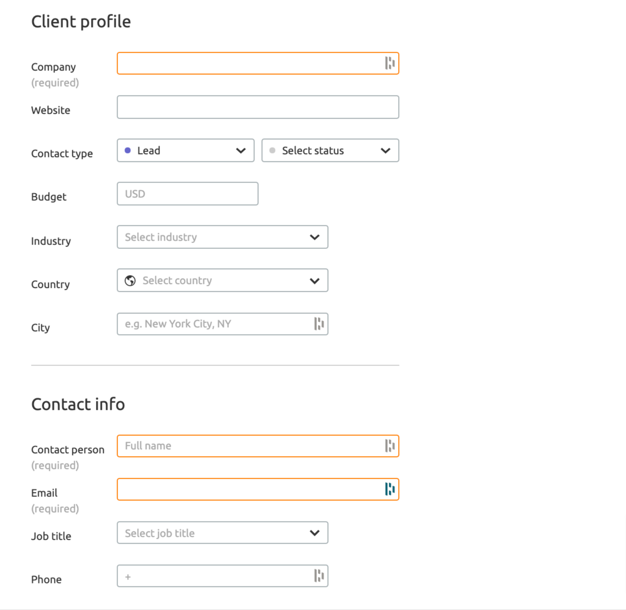 How to fill the customer profile in Client Manager